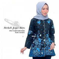 Baju Atasan Kancing Depan Motif Batik Melati Jaya Biru