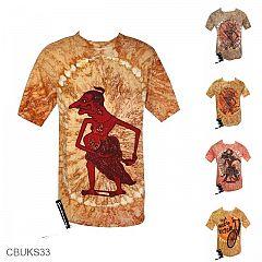 Baju Batik Casual Kaos Motif Wayang Pelangi Cerah