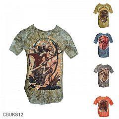 Baju Batik Casual Kaos Motif Wayang Pelangi
