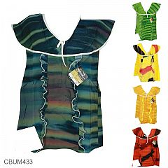 Baju Batik Dress Pita Anak Motif Coletan Pelangi