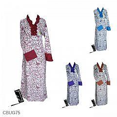 Baju Batik Gamis Motif Bunga Teki