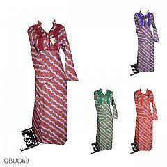 Baju Batik Gamis Motif Kembang Gelombang