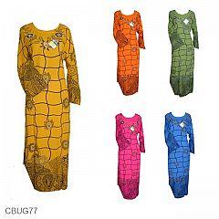 Baju Batik Gamis Motif Jaring Bunga Tumpal