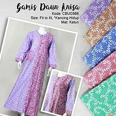 Baju Batik Gamis Anisa Motif Daun