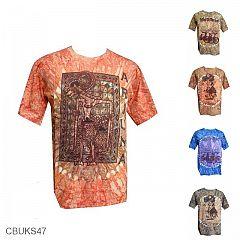 Baju Batik Kaos Etnik Motif Wayang Pelangi