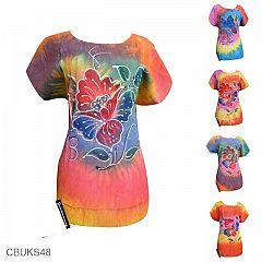 Baju Batik Kaos Lukis Motif Pantai Sunset Etnik