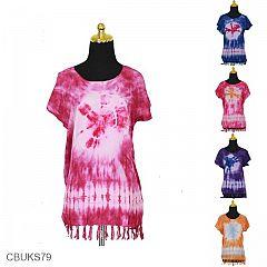 Baju Batik Kaos Lukis Rumbai Motif Jumputan Lombang