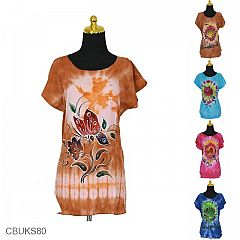 Baju Batik Kaos Lukis Motif Bunga Merak Tulang