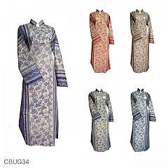 Baju Batik Longdress Motif Latar Lintang Kembang Kombinasi