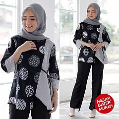 Blouse Batik Kombinasi Marina Ceplok Monocrome