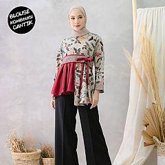 Blouse Batik Kombinasi Laudia Merah