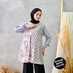 Blouse Batik Kombinasi Mosscrep Motif Seling