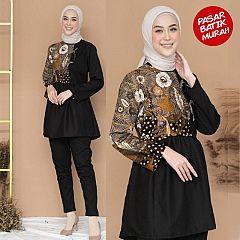 Blouse Batik Peplum Vira Klasik Black