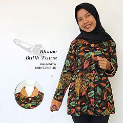 Blouse Batik Wanita Kombinasi Motif Daun