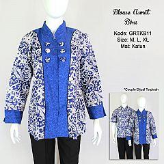 Blus Motif Kalimantan Kombinasi Biru