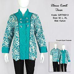 Blus Motif Kalimantan Kombinasi Tosca