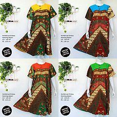 Daster Katun Batik Jumbo Kombinasi Manis Kancing Depan