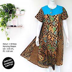 Daster Katun Batik Kombinasi Embos Klasik