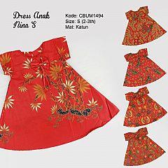 Dress Anak Nina Motif Santoso Merah Size S