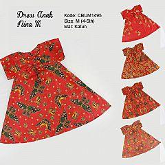 Dress Anak Nina Motif Santoso Merah Size M
