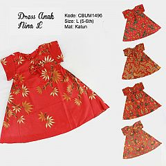 Dress Anak Nina Motif Santoso Merah Size L