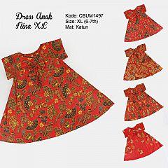 Dress Anak Nina Motif Santoso Merah Size XL