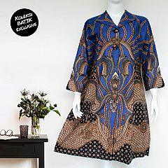 Dress Batik Blarak Kajeng Kinaot Biru Navy