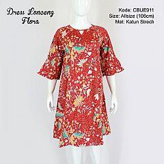 Dress Lonceng Flora Merah