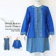 Dress Outer Bolero Terpisah Lurik Katun Mix Embos Primis