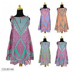 Dress Batik Cantik Tali Motif Sinaran