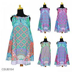 Dress Batik Cantik Tali Motif Kipas
