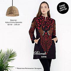 (Free Masker) Tunik Batik Blarak AHY 2 Merah
