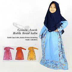 Gamis Anak Batik Kombinasi Bunga