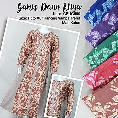 Gamis Batik Aliya Katun Daun