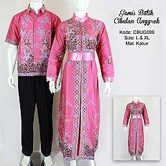 Gamis Batik Couple Cibulan Anggrek Pink