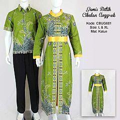 Gamis Batik Couple Cibulan Anggrek Hijau