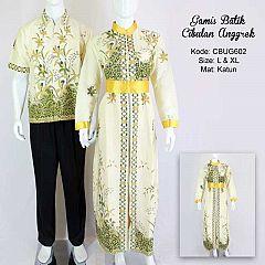Gamis Batik Couple Cibulan Anggrek Cream