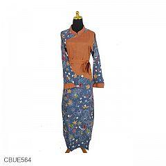 Gamis Butik Batik 03 Bunga Nitik Biru