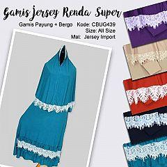 Gamis Set Jilbab Jersey Renda Super Aira