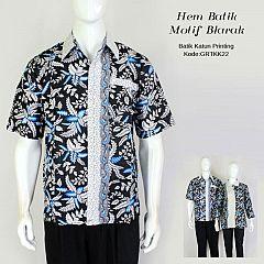 Hem Batik Printing Motif Blarak Biru