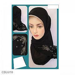 Jilbab Paris Bordir Bunga Sudut Hitam