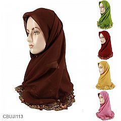 Jilbab Paris Segi Empat Bordir Renda Permata