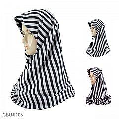 Jilbab Segi Empat Katun Ima Monochrome Stripe