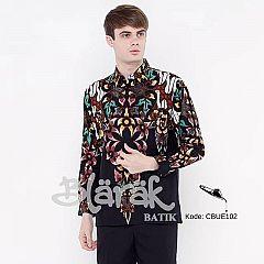 Kemeja Batik Blarak Lengan Panjang Motif AHY 4 Hitam