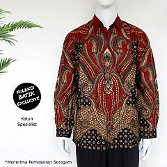 Kemeja Batik Blarak Panjang Kajeng Kinaot Merah