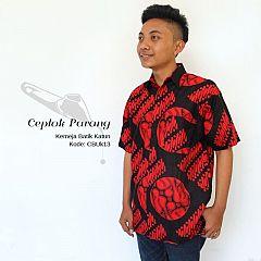 Kemeja Batik Ceplok Parang Merah