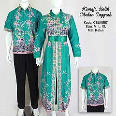 Kemeja Batik Couple Cibulan Anggrek Tosca