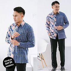 Kemeja Batik Katun Modern Motif Lereng Biru