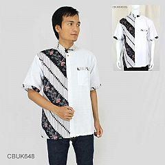 Kemeja Batik Koko Motif Kembang Parang Stik Putih XXL