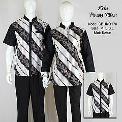 Kemeja Batik Koko Motif Parang Hitam